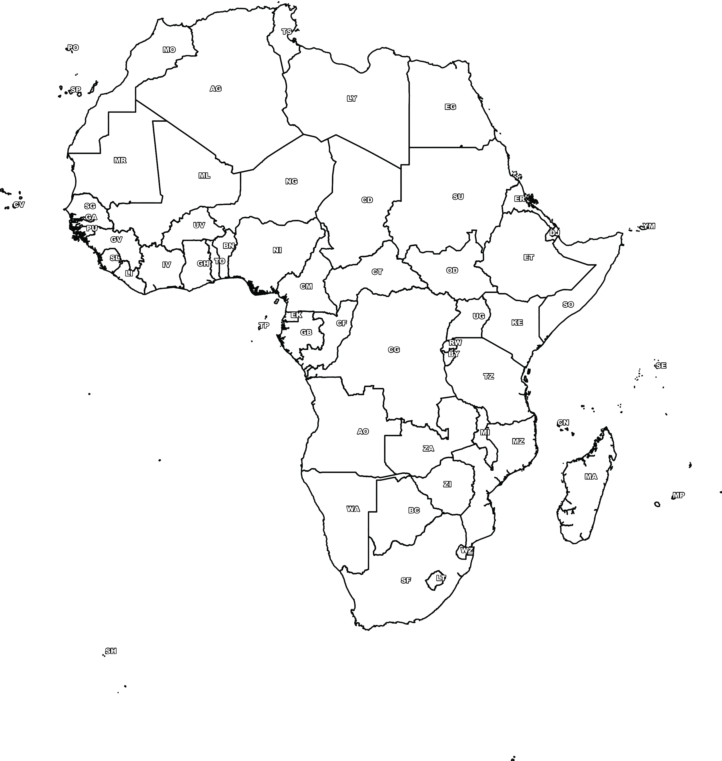 Digital map of africa free the world of maps largest format 300dpi download gumiabroncs Image collections
