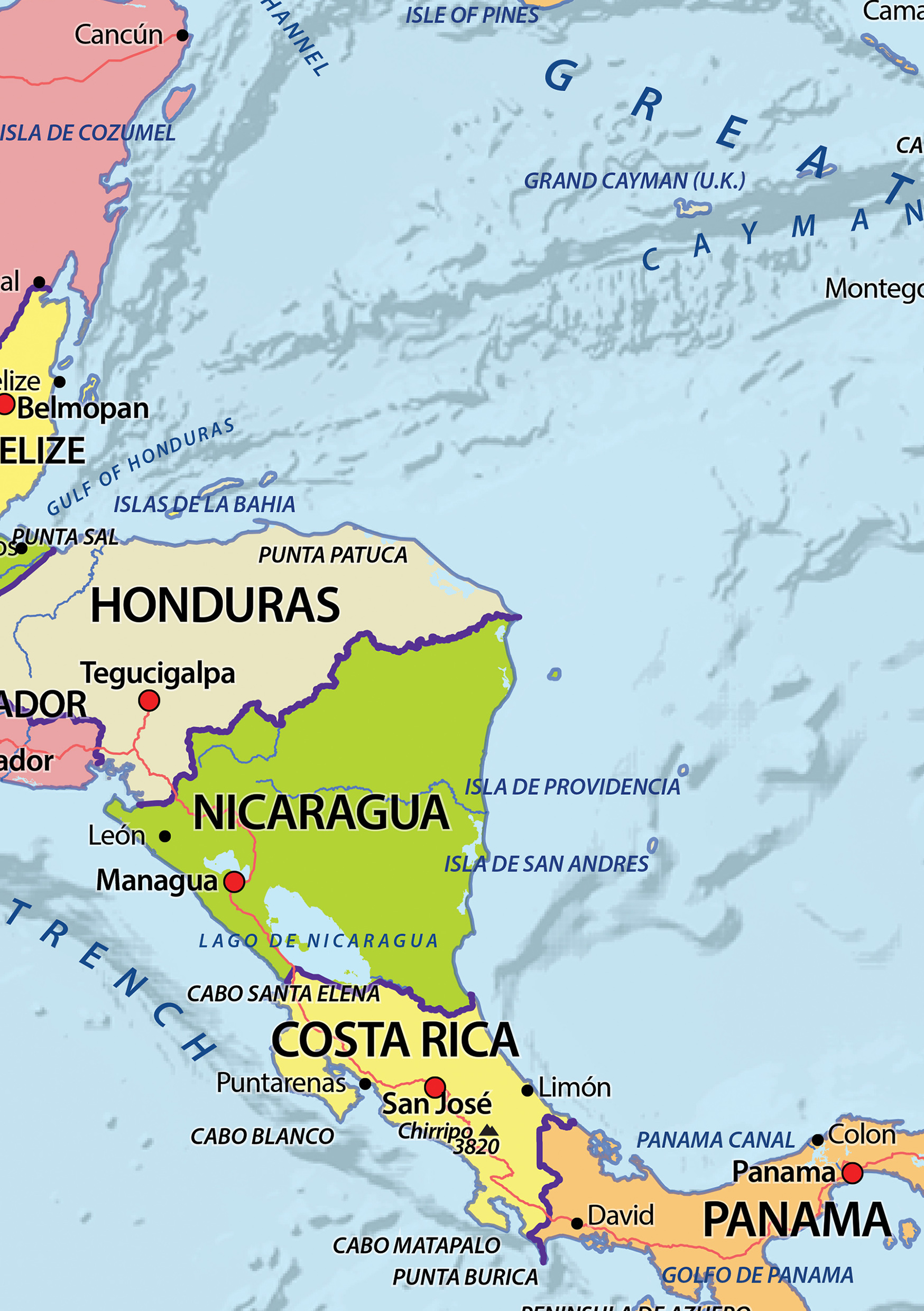 political digital map central america 630