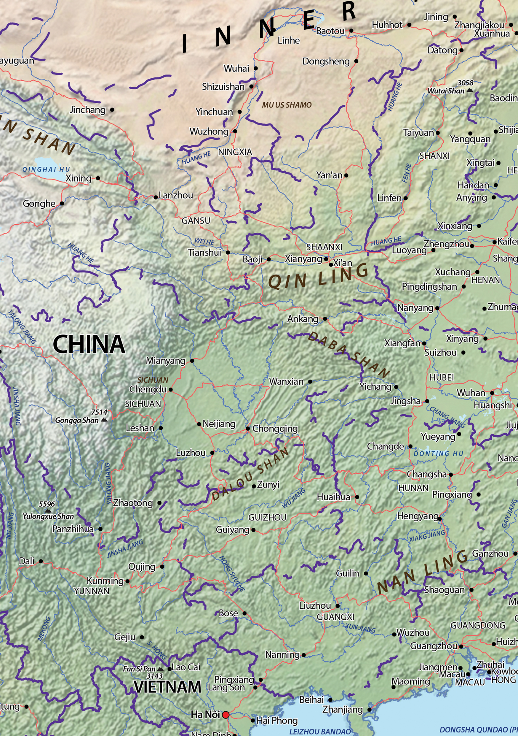 Digital Map Central Asia Physical The World Of Mapscom - Ankang map