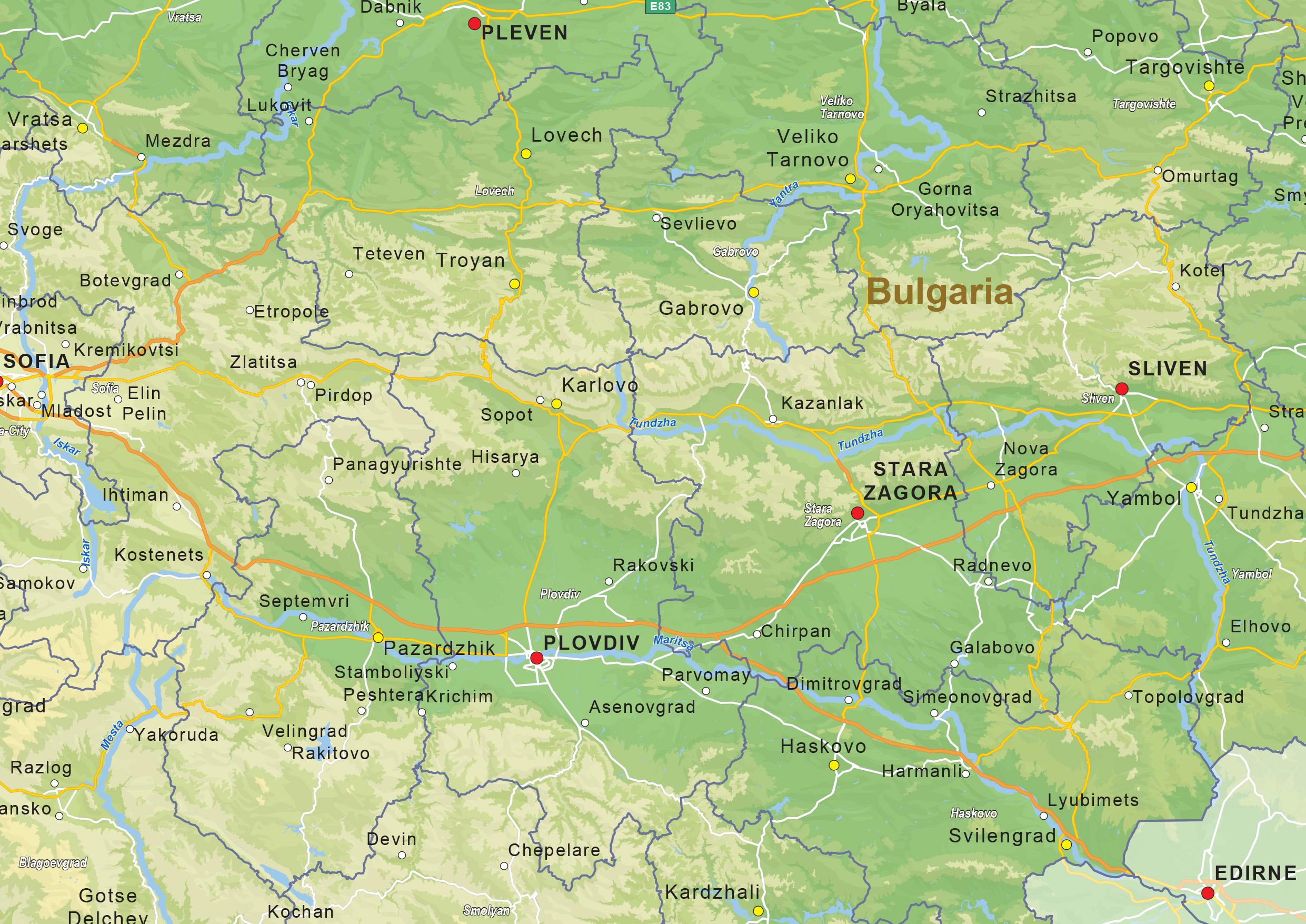 Digital physical map of Bulgaria 1427 The World of Mapscom
