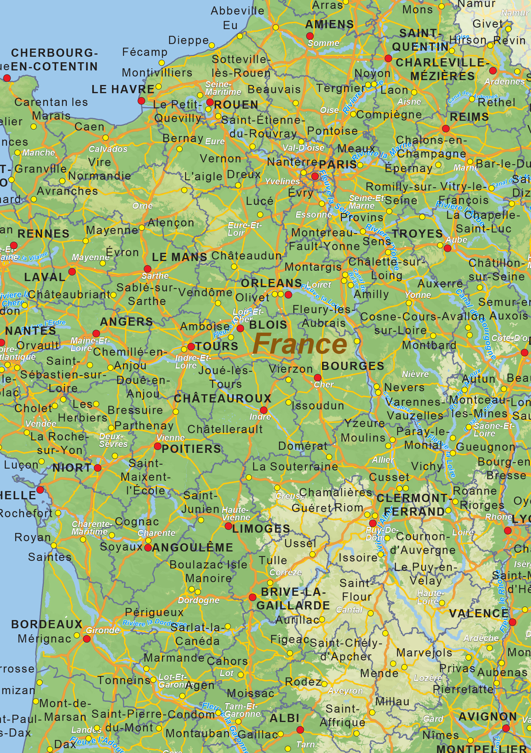 Digital physical map of France 1433 | The World of Maps.com