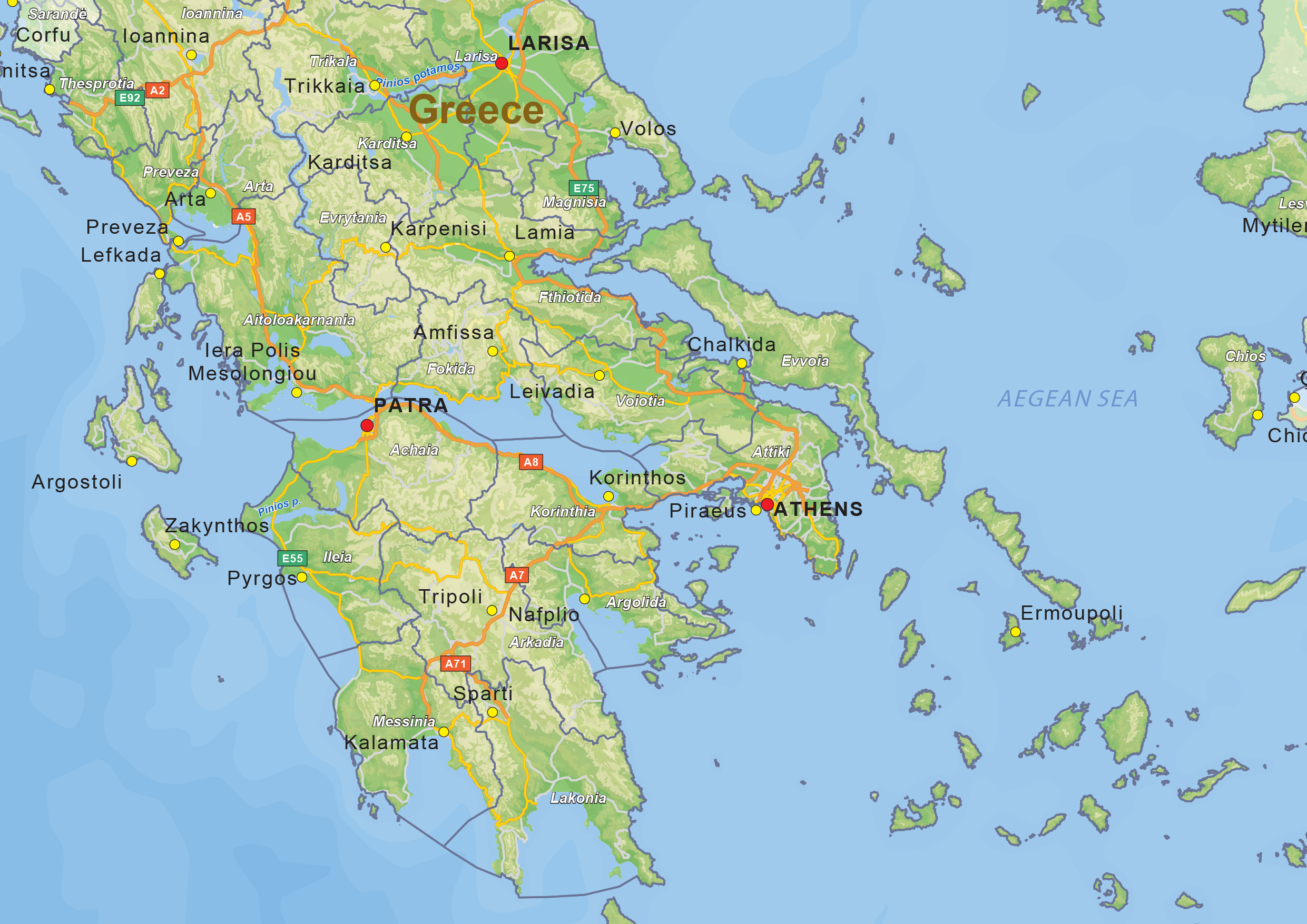 Digital physical map of Greece 1435 The World of Mapscom
