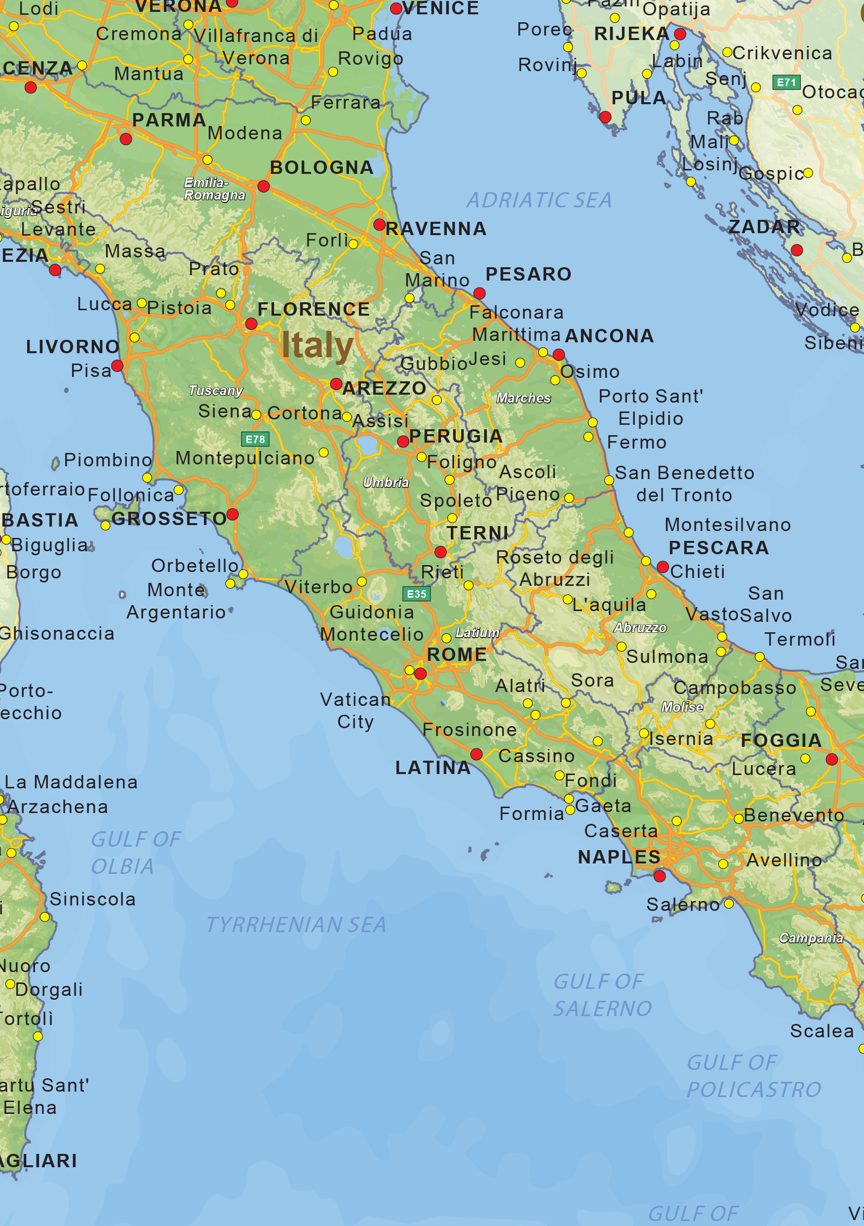 Digital Physical Map Of Italy The World Of Mapscom - Physical map of italy