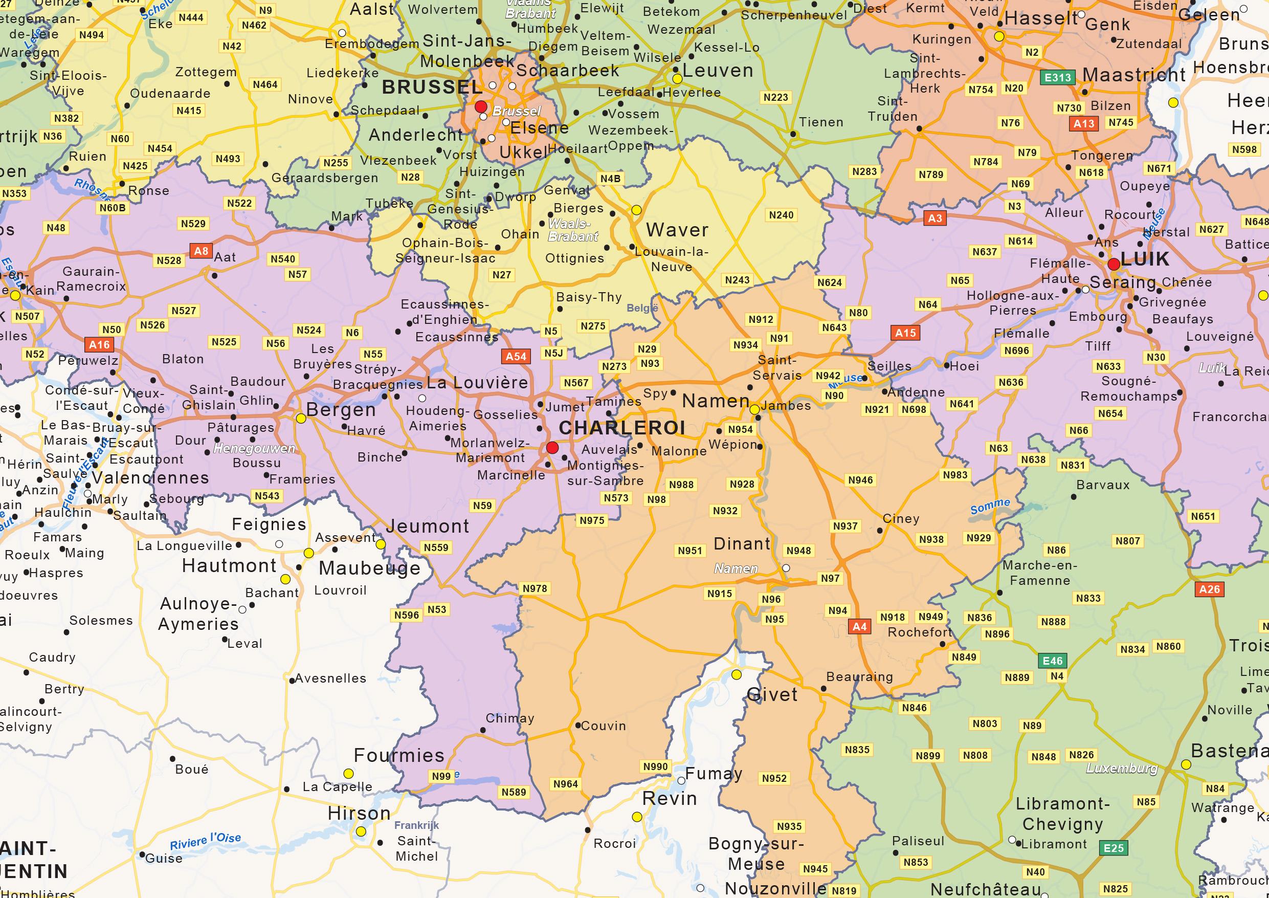 Digital Political Map Of Belgium The World Of Mapscom - Geleen map