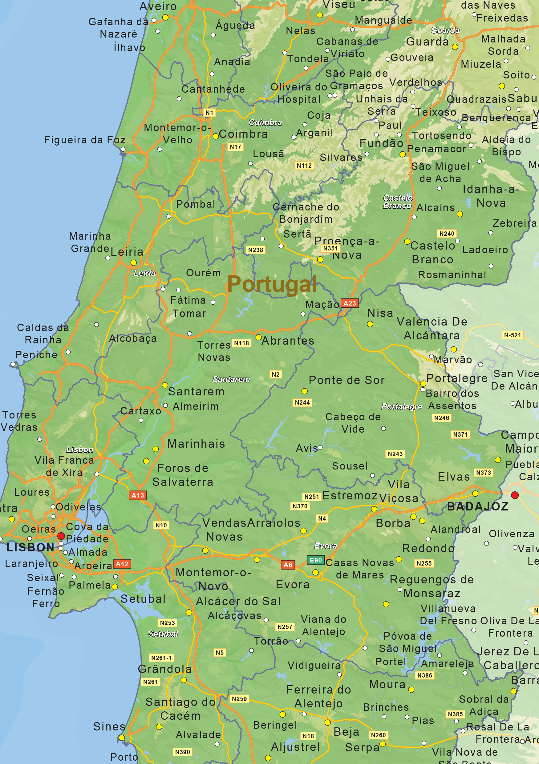 Digital physical map of Portugal 1459   The World of Maps.com