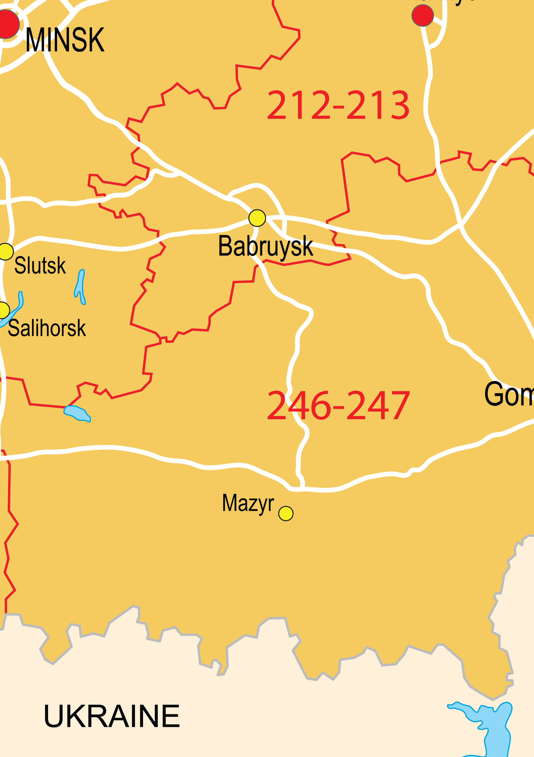 Digital Postcode Map Belarus 3digit 71 The World of Mapscom