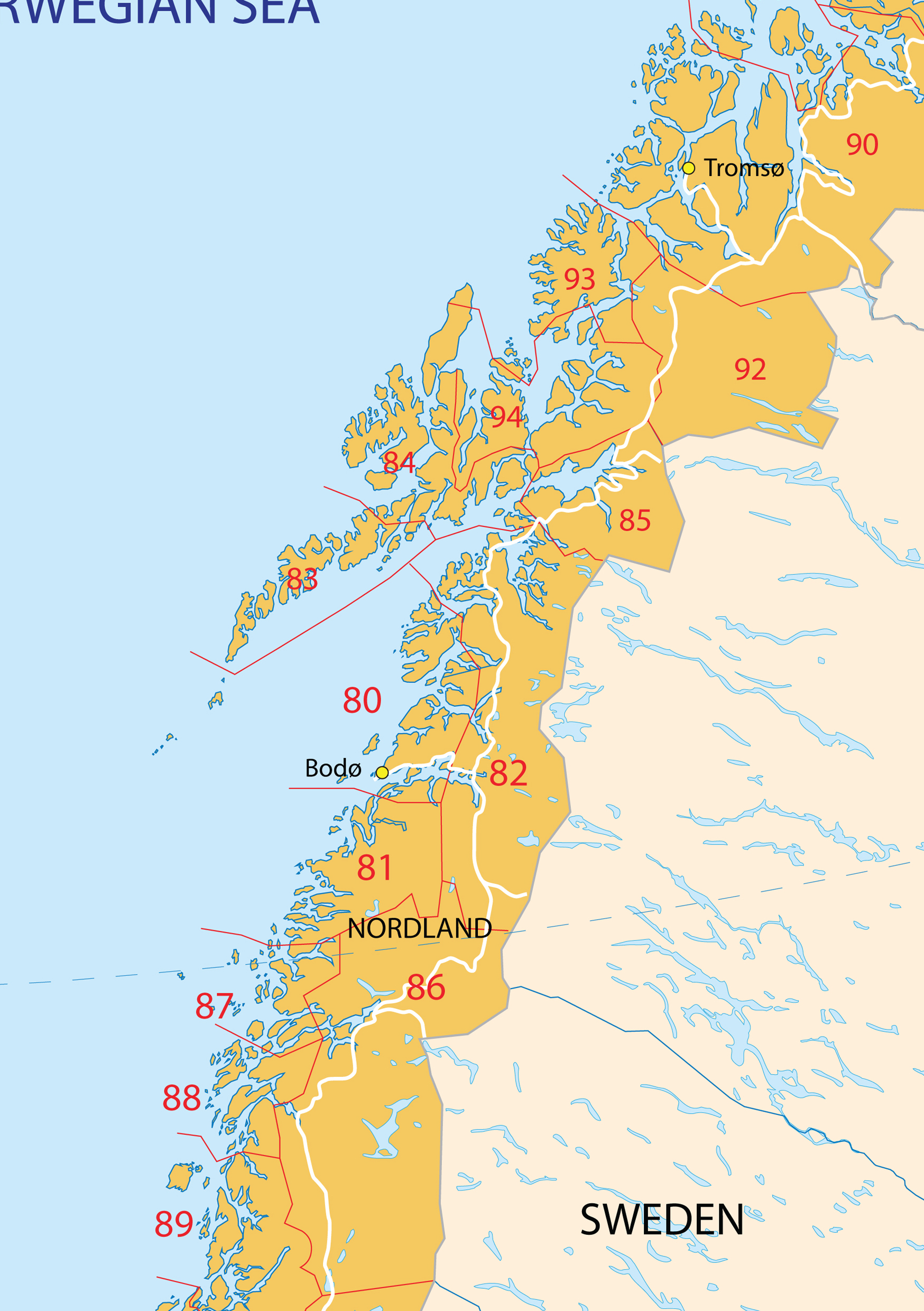 Digital postcode map Norway 2digit 201 The World of Mapscom