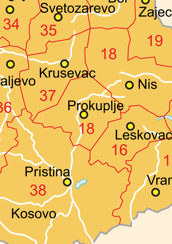 Digital Postcode Map Serbia Digit The World Of Mapscom - Serbia clickable map