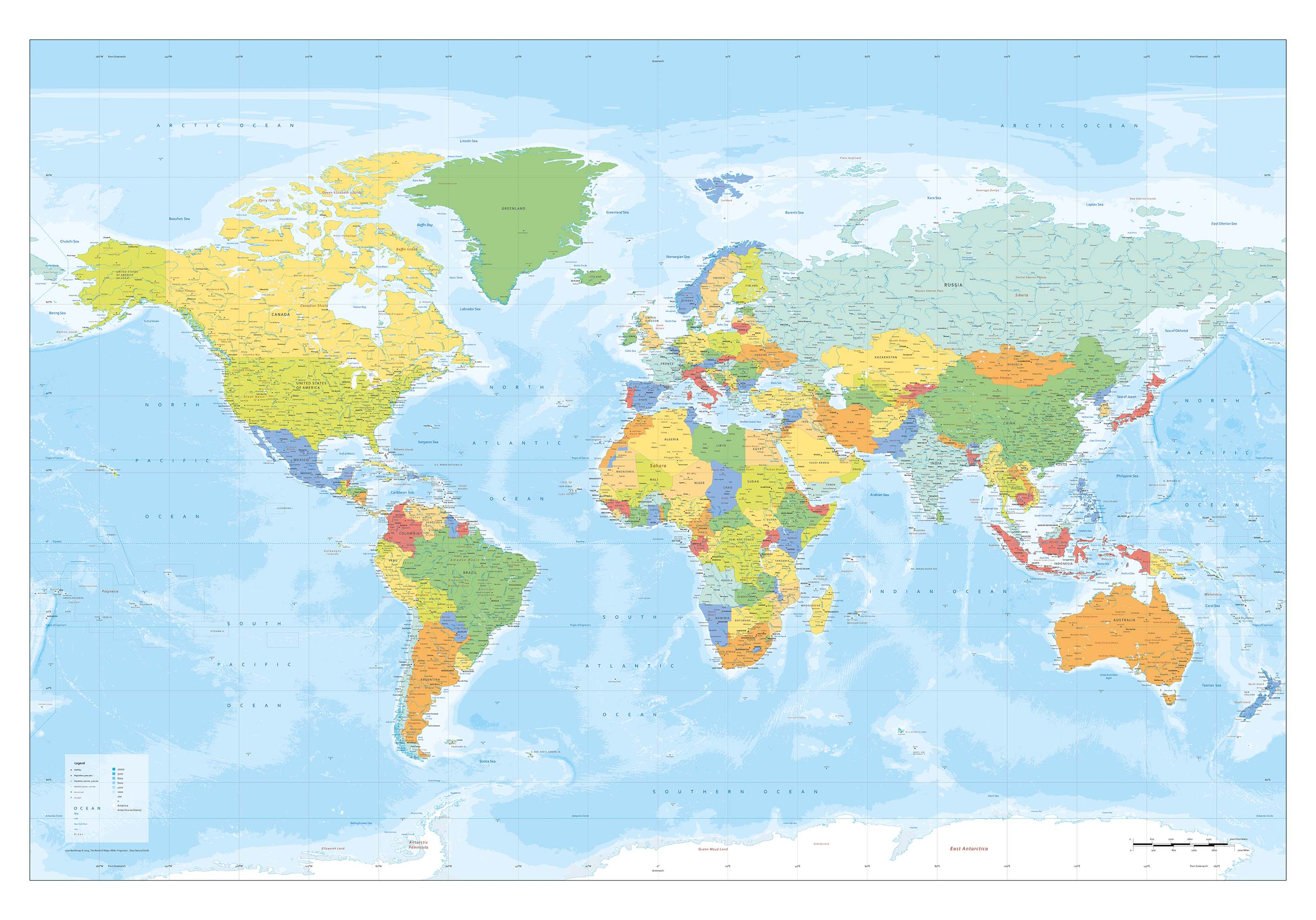 Picture of: Digital World Map Xxl Political In Bright Colours 1270 The World Of Maps Com