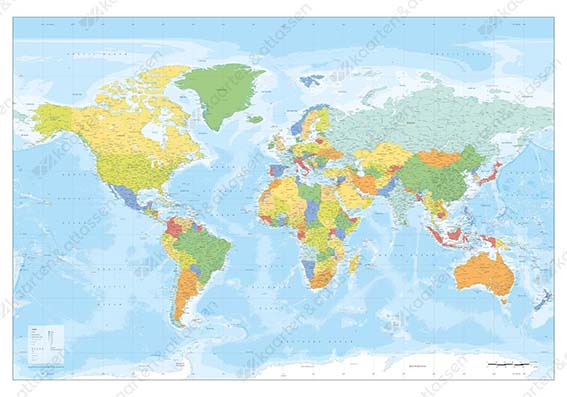 DIGITAL WORLD MAP XXL POLITICAL IN BRIGHT COLOURS