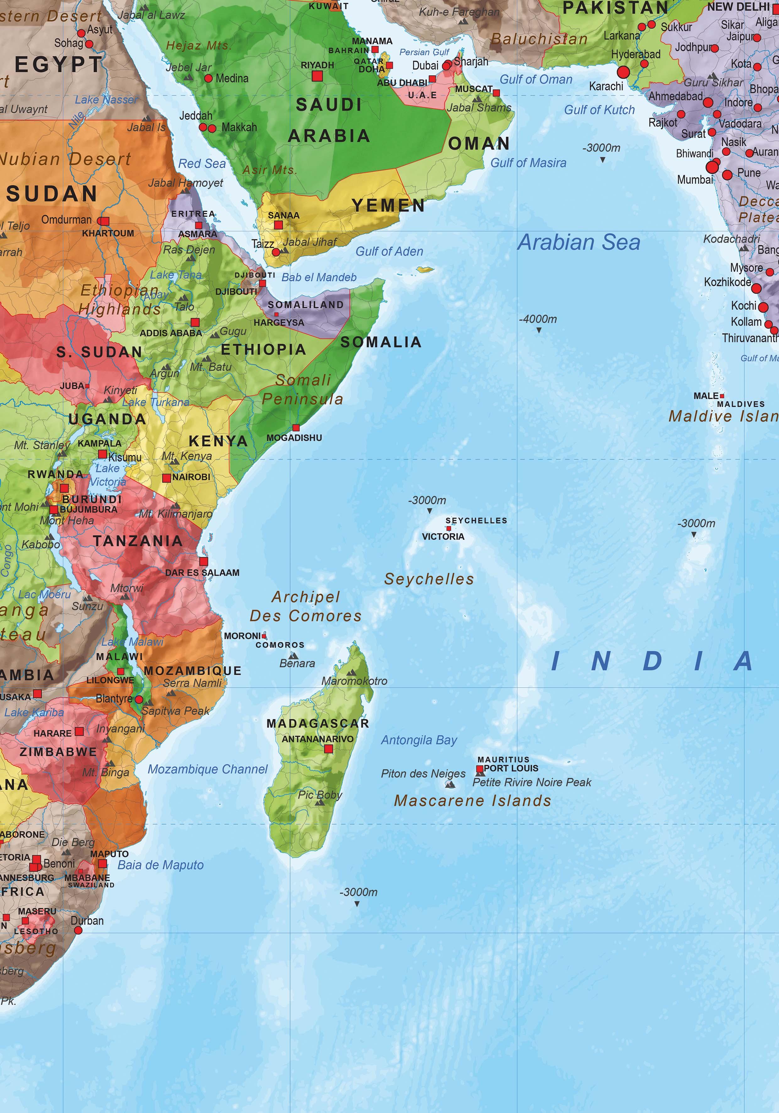 Digital map of The World medium 1496 The World of Mapscom