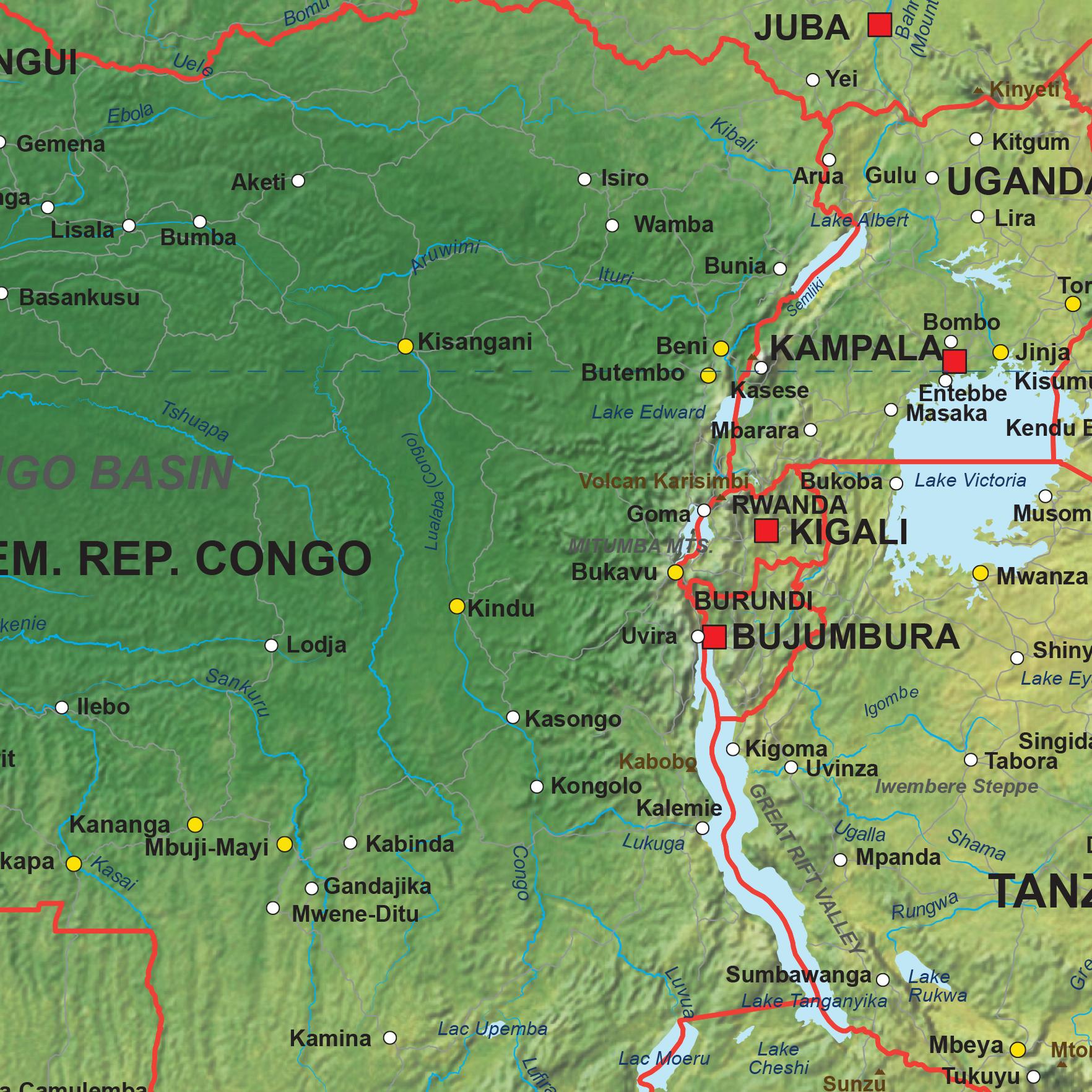 Digital Physical Map Africa 1288 The World of Mapscom
