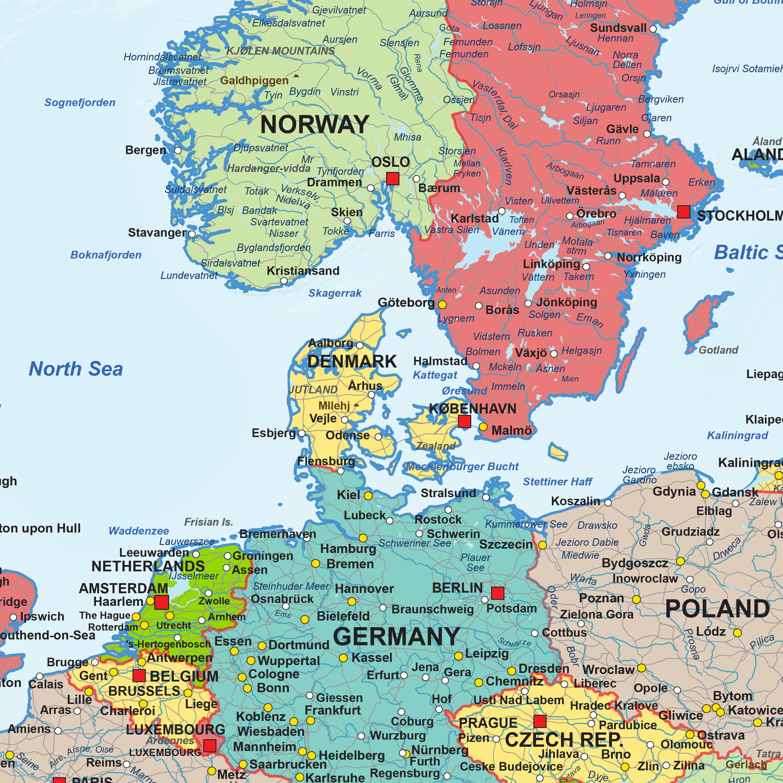 Digital Map Europe Political 1281 | The World of Maps.com