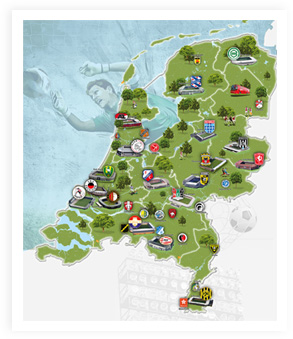 Football map of the Netherlands, inlcuding all pro clubs.