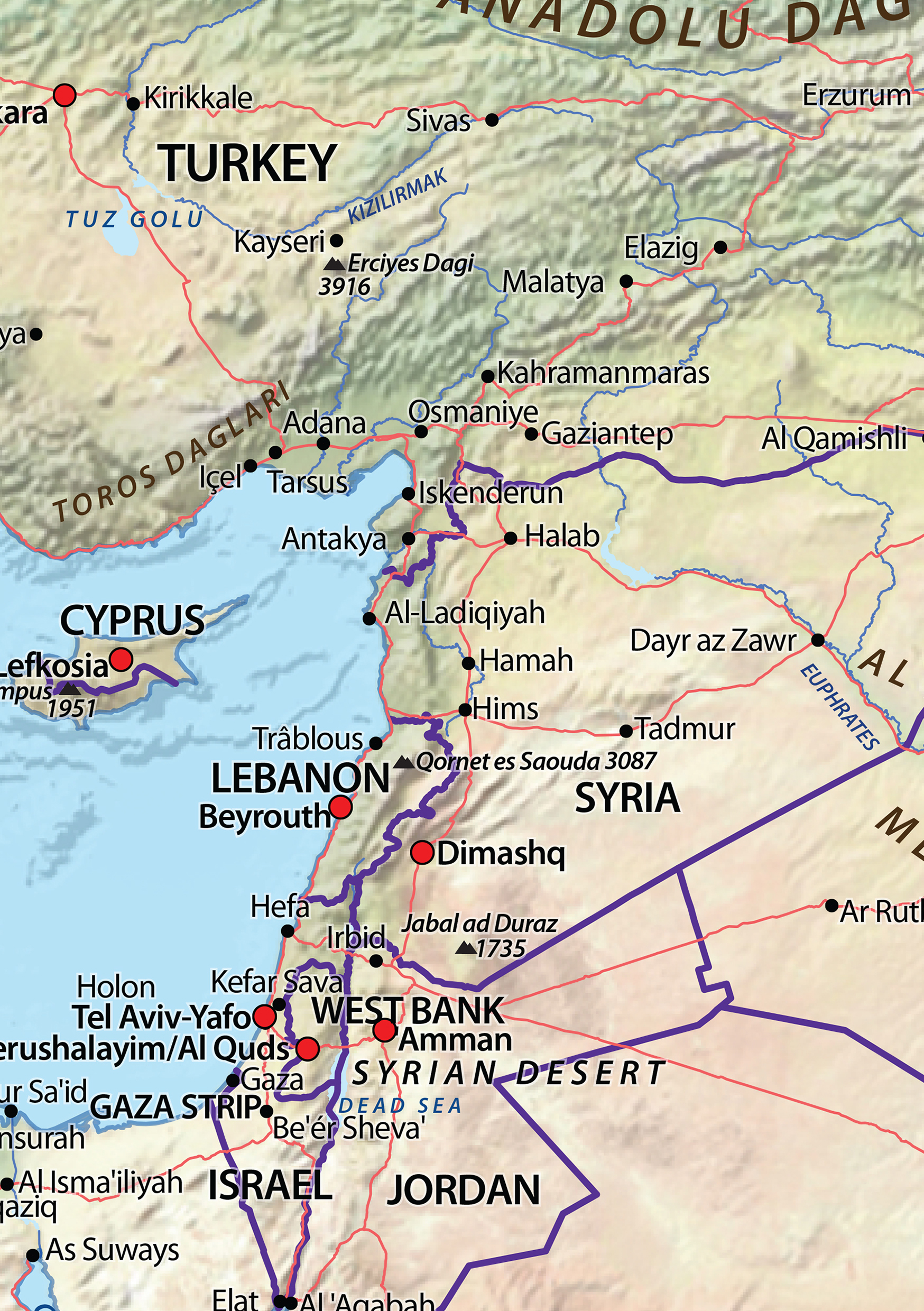 Digital Physical Map Middle East 634 | The World of Maps com