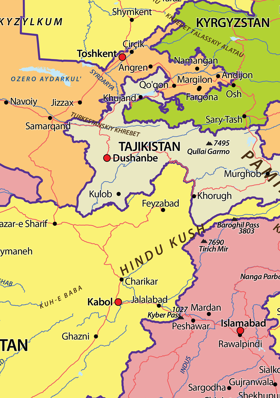 Digital Political Map Middle East The World Of Mapscom - Charikar map