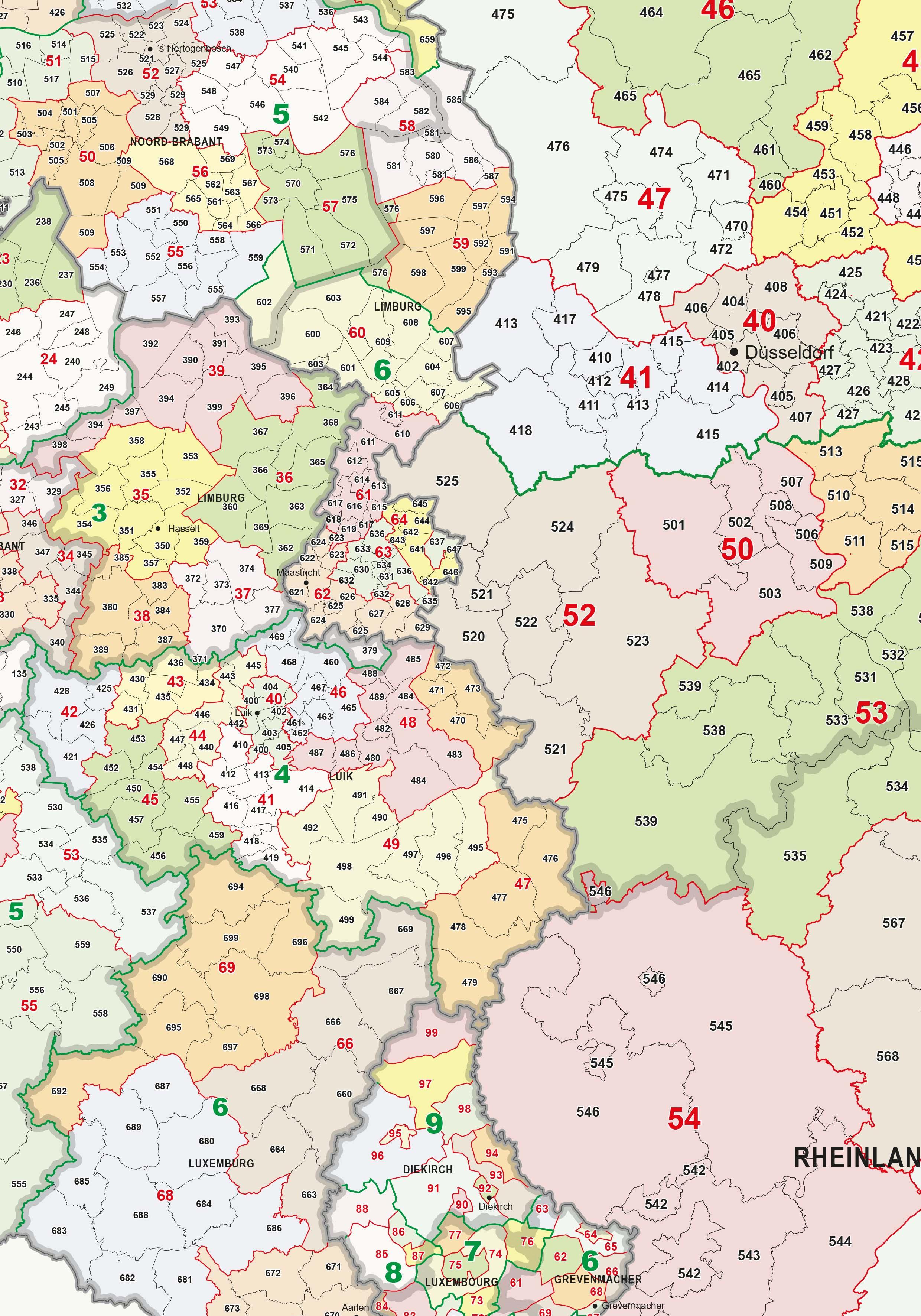 digital postcode map benelux   germany 1