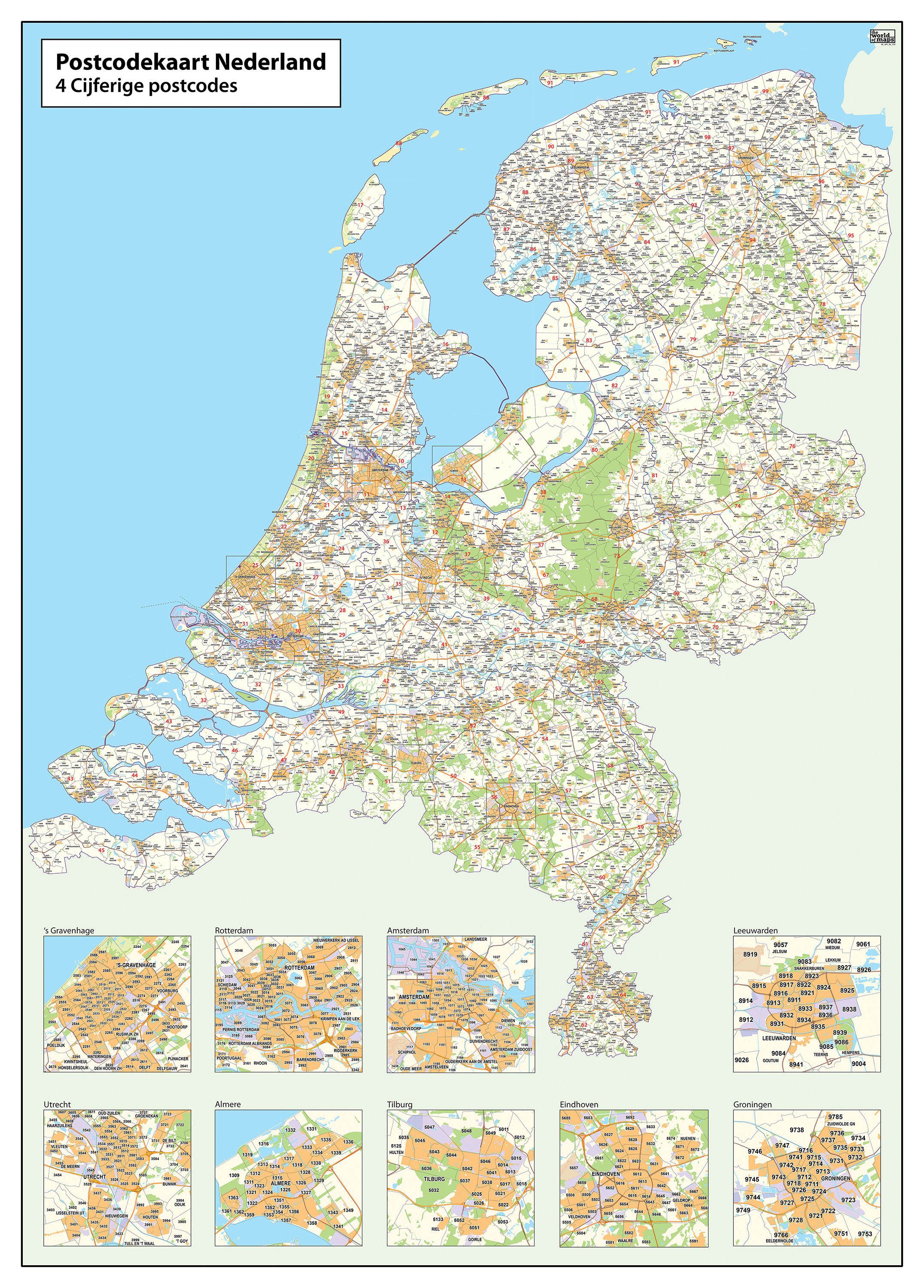 Digital 2 and 4 digit postcode map the netherlands 379 the world download sample gumiabroncs Images