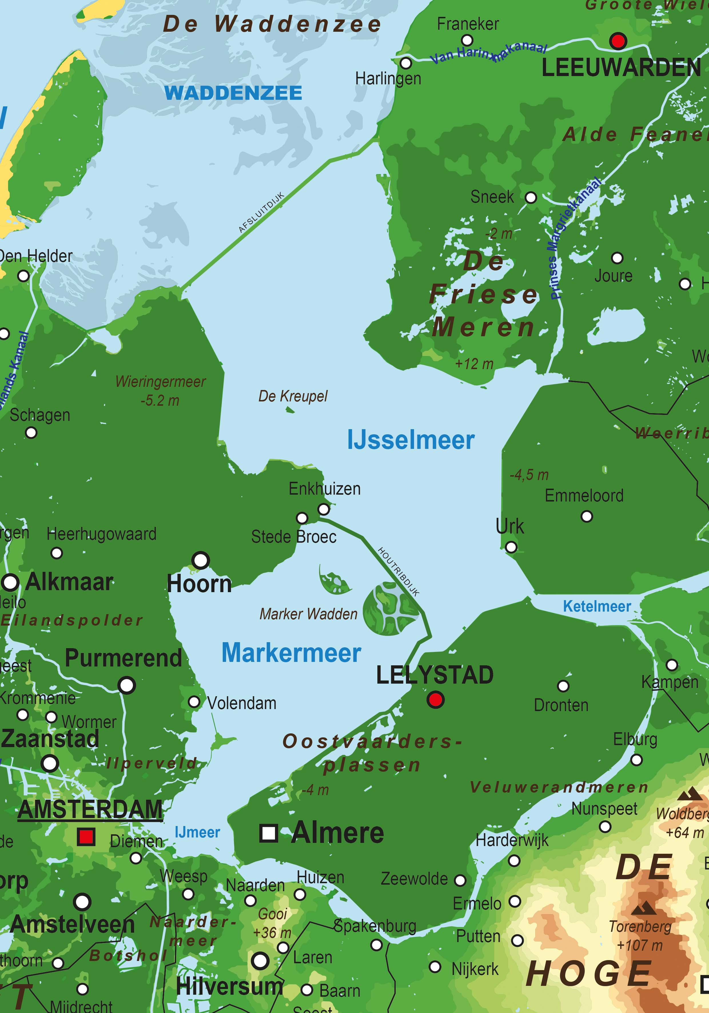 Physical Digital Basic Map The Netherlands 1413 The World of Mapscom