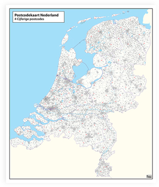 Easy to use postcode map the Netherlands
