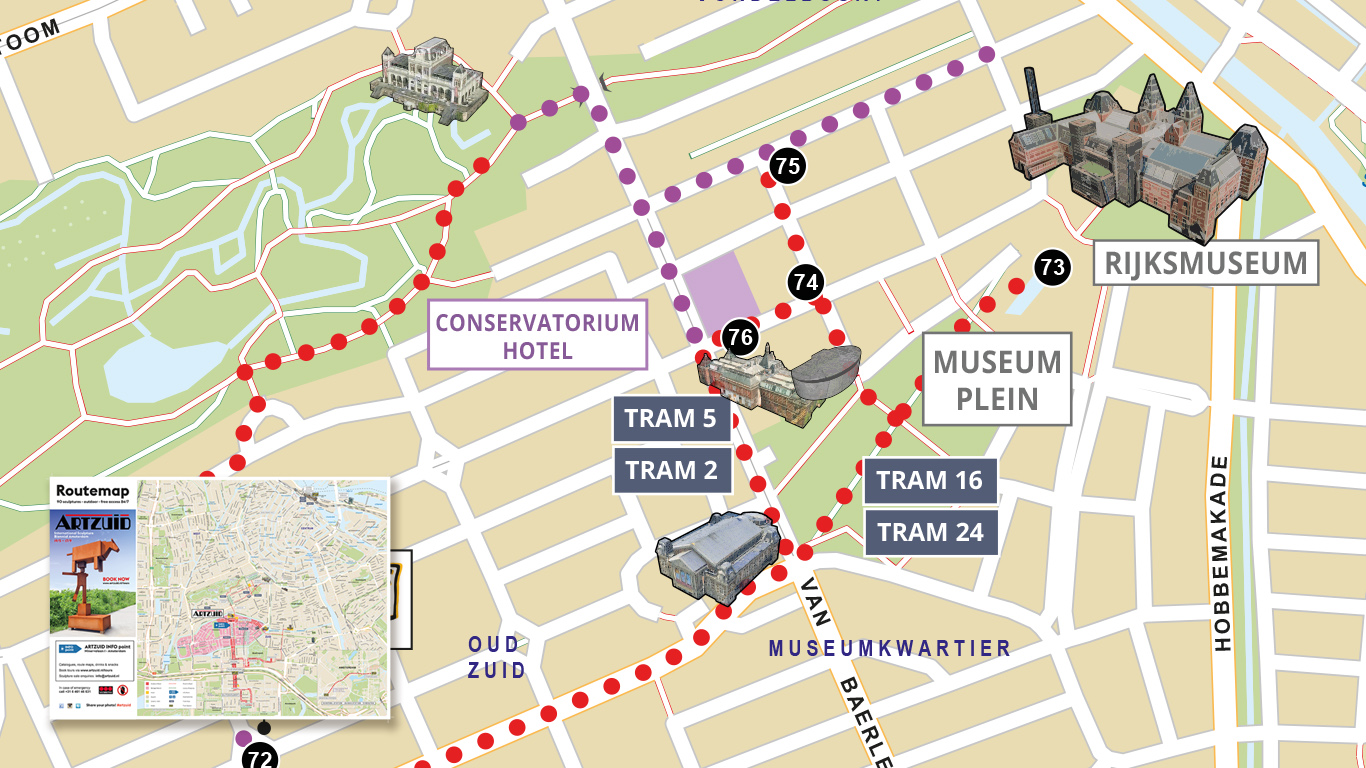 Folded map of a sculpture tour in Amsterdam