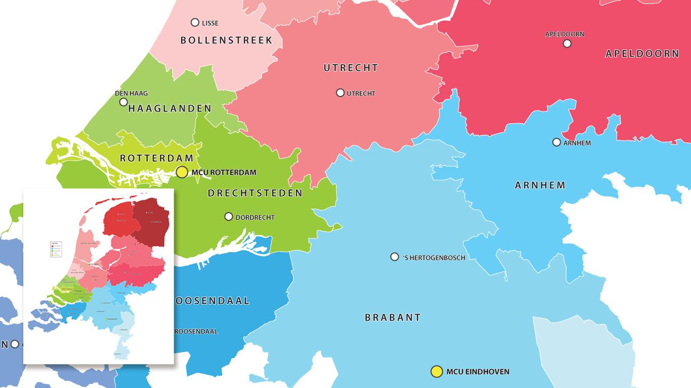 Disctrict map for Deutsche Bank in the Netherlands