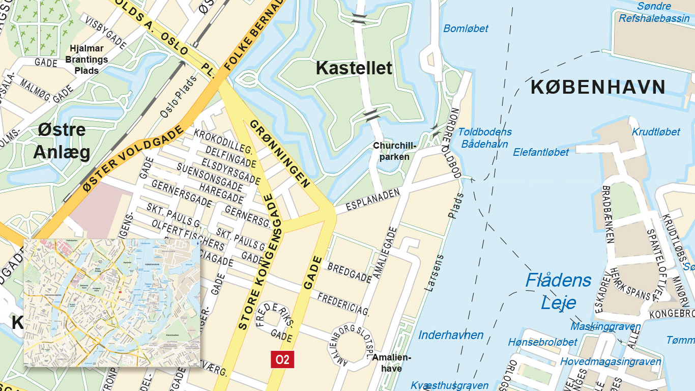 City map of Kopenhagen, Denmark