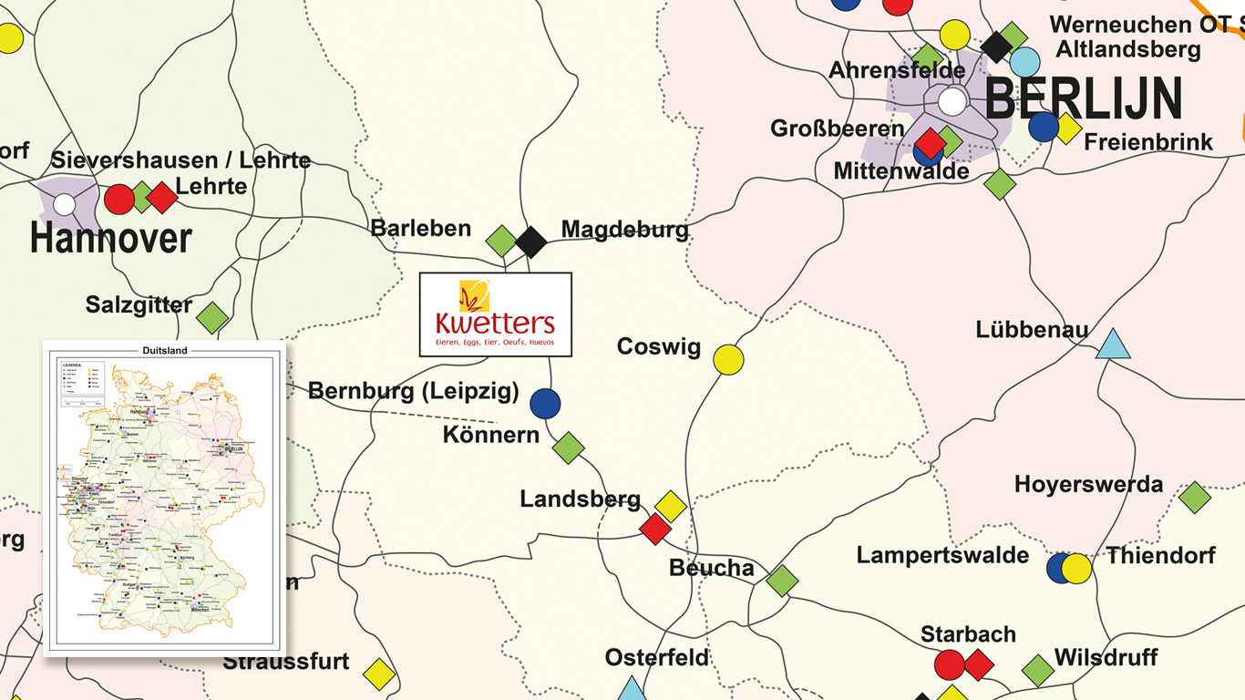 Location map of Germany for livestock company Kwetters.