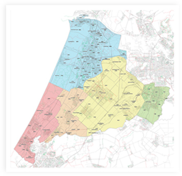 Postcode map with added regions in the Netherlands.