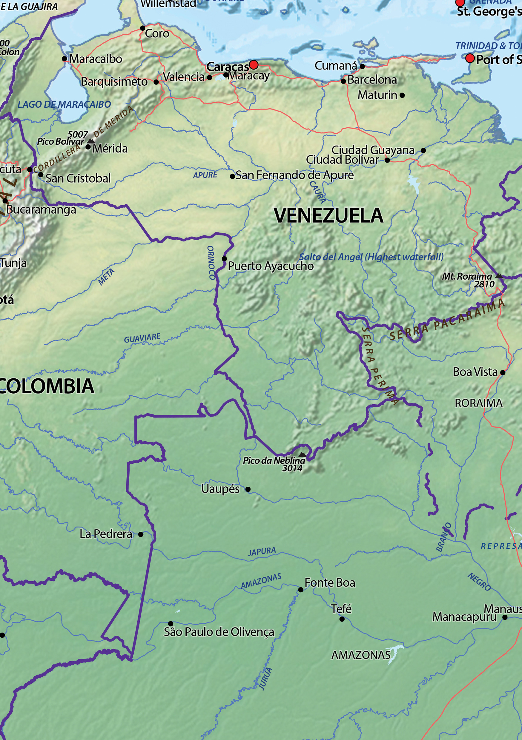 Digital Map South America Physical 605 The World of Mapscom