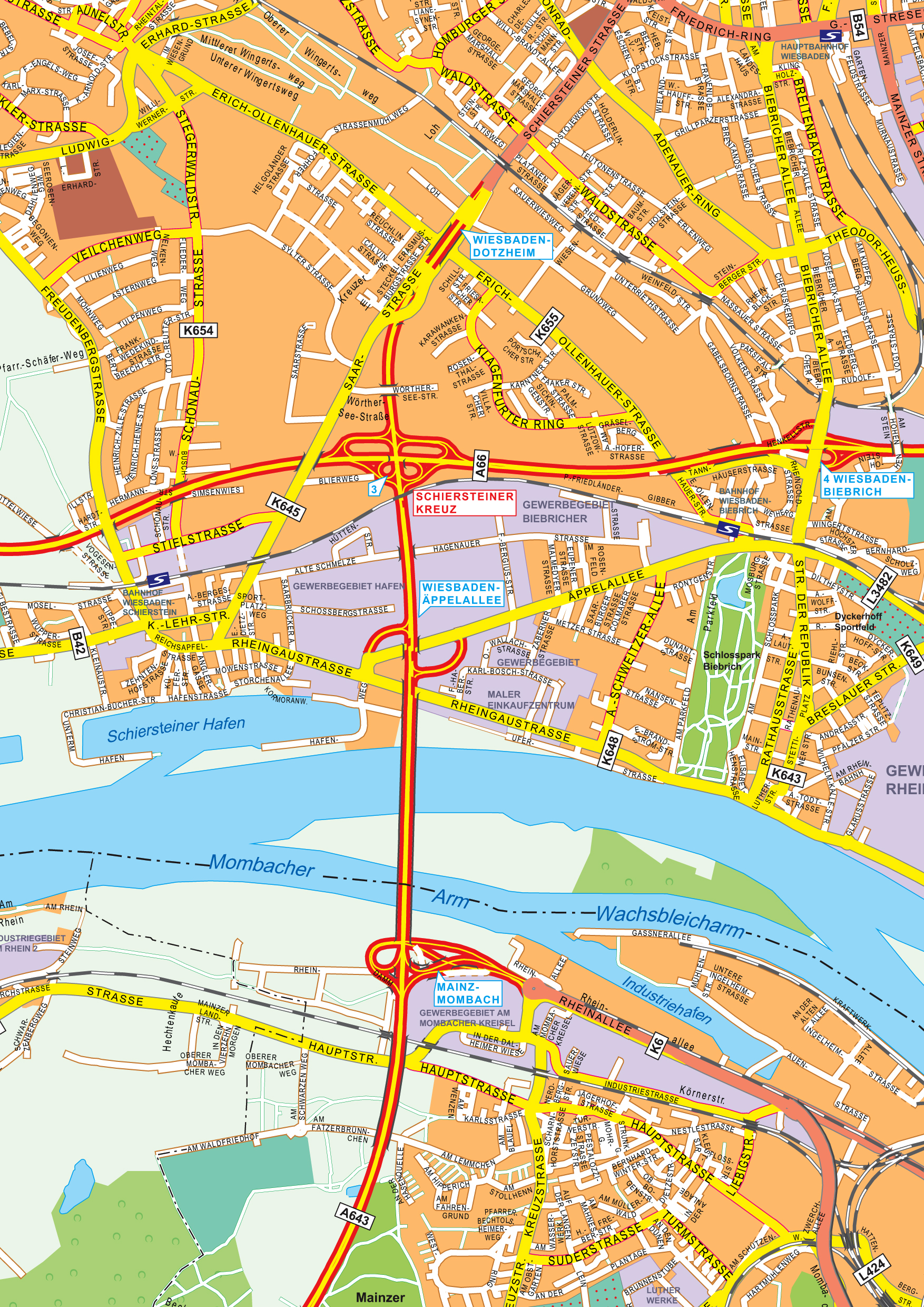 Digital City Map WiesbadenMainz 177 The World of Mapscom