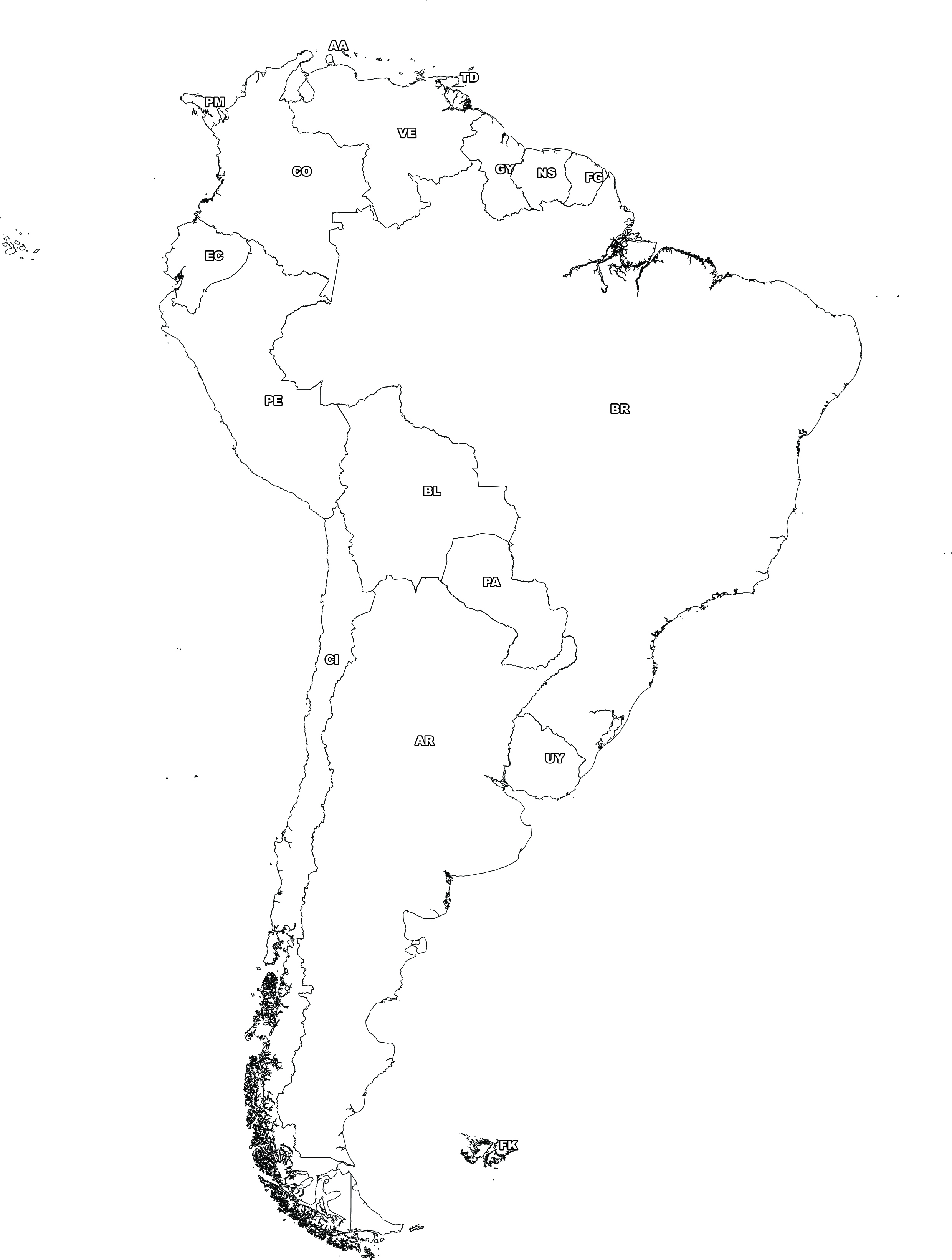 Digital map of South America (free) | The World of Maps.com