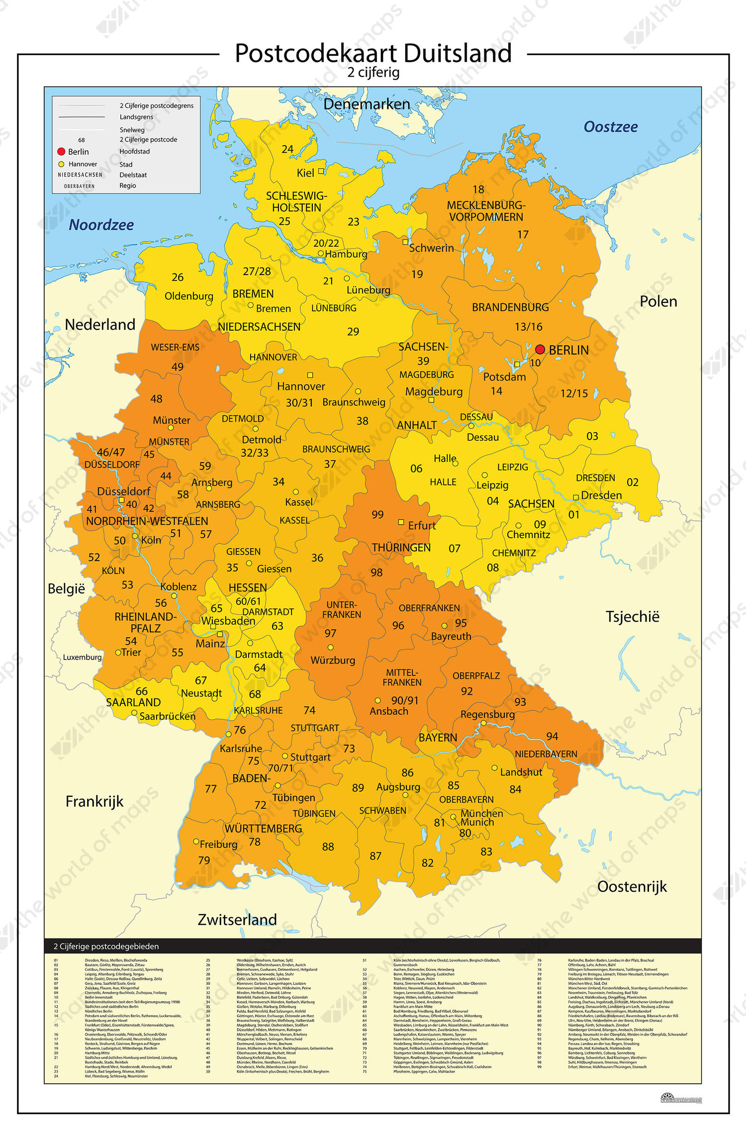Map Of Germany Jpg.Digital Postcode Map Of Germany 2 Digit 814 The World Of Maps Com
