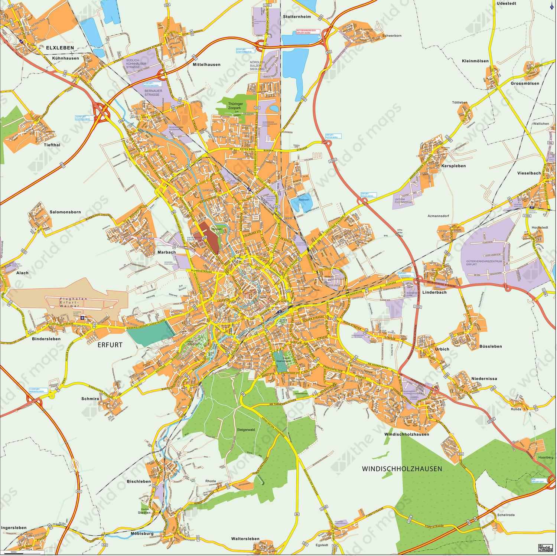 Digital city map Erfurt