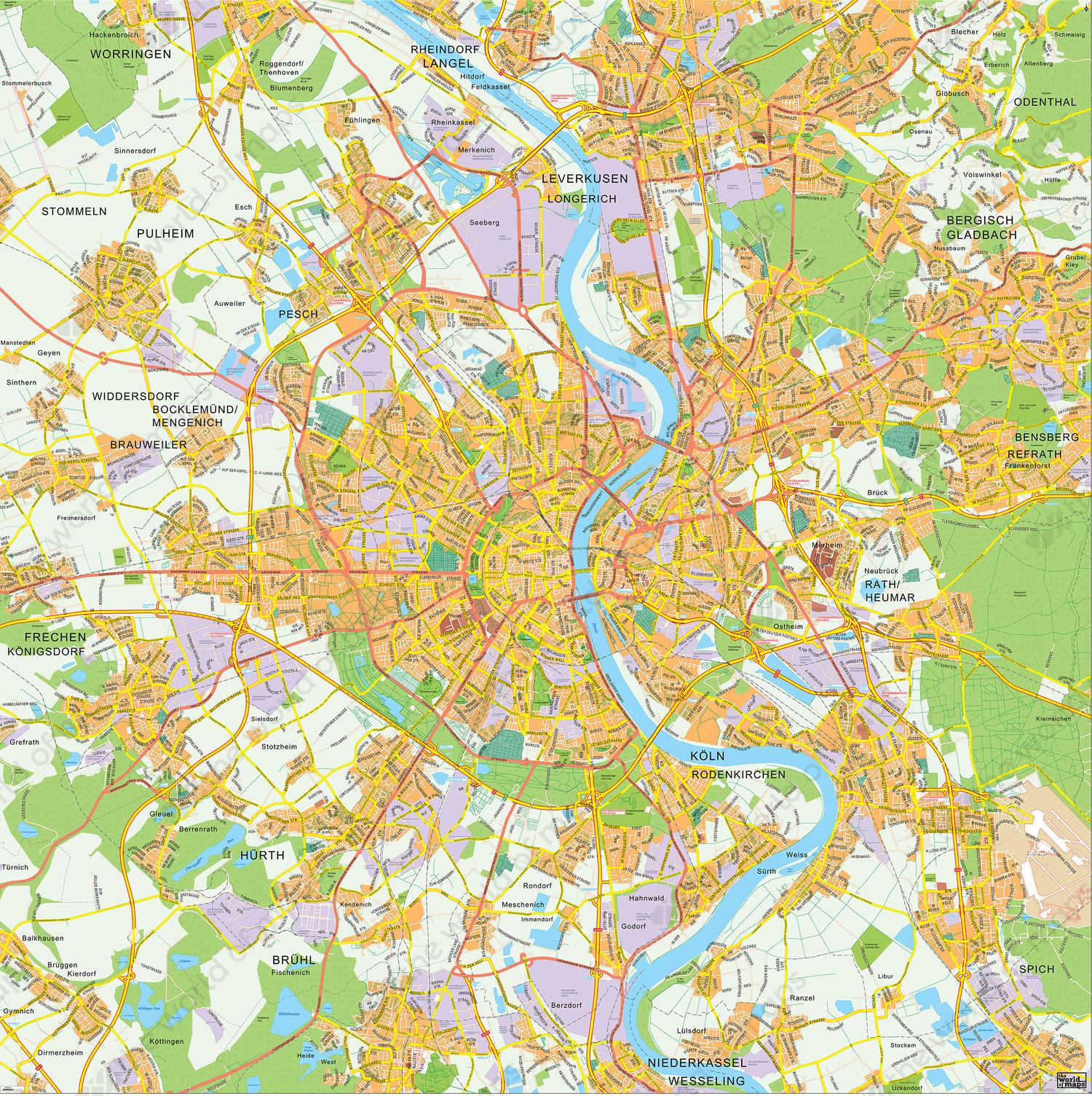 Digital City Map Cologne 141 The World of Mapscom