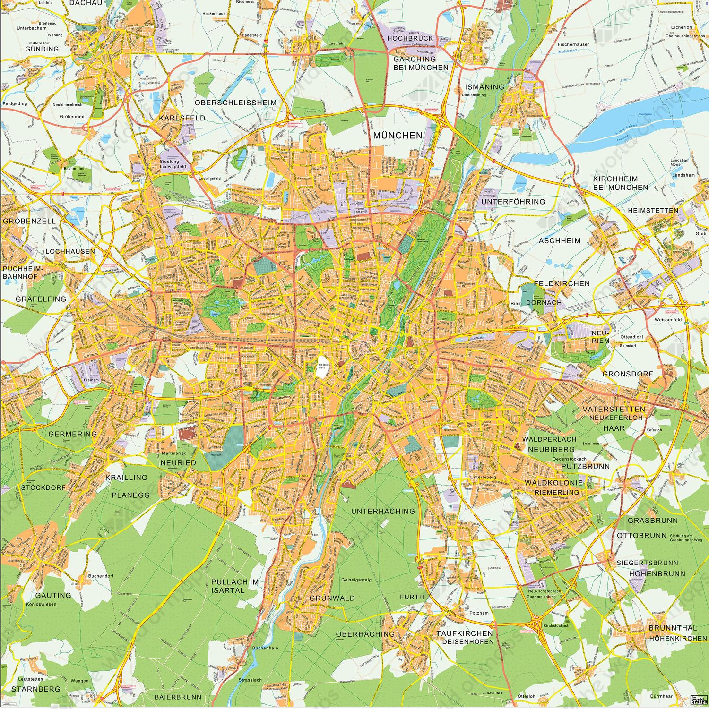 Digital City Map Munich 144 | The World of Maps.com