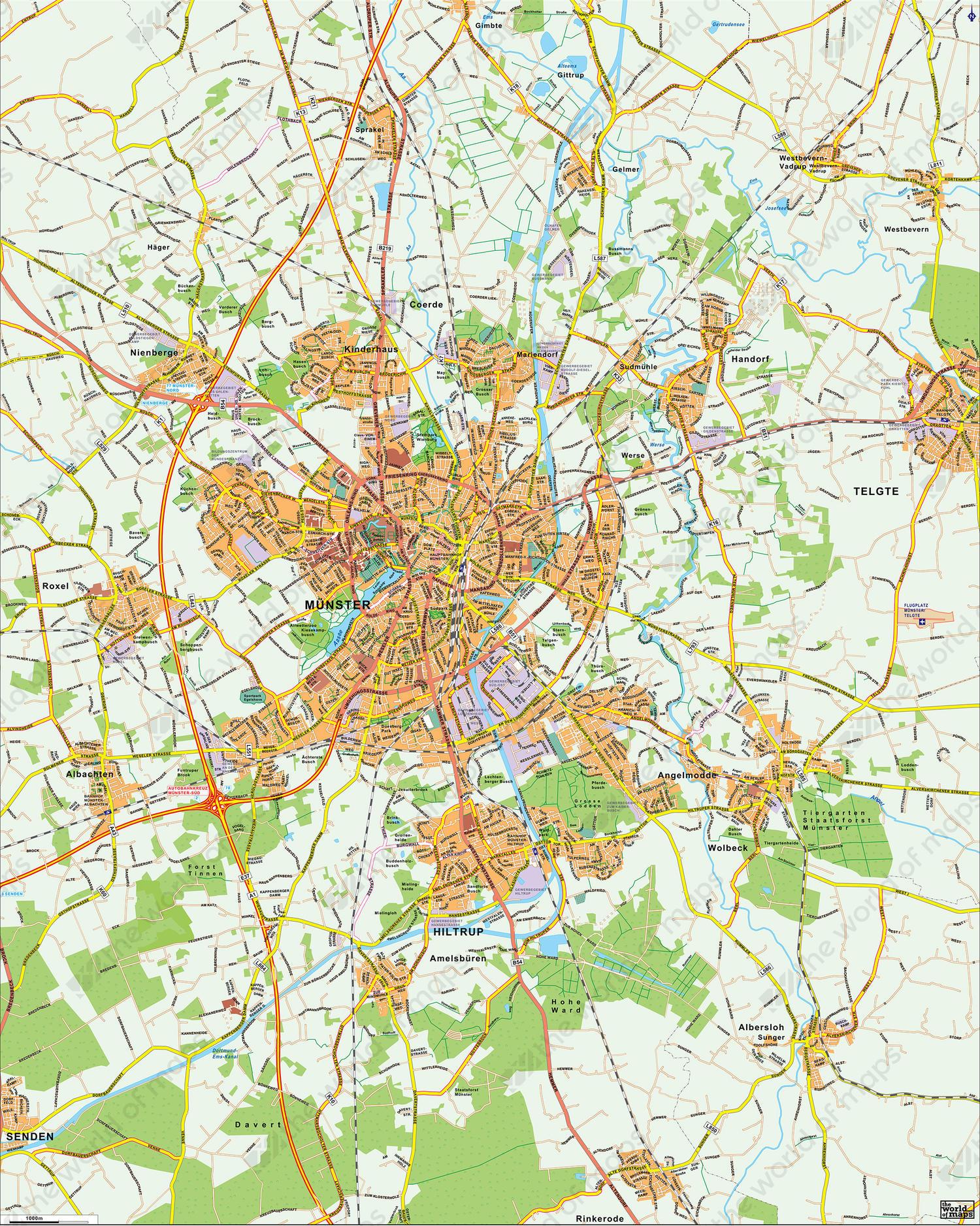 Digital City Map Mnster 178 The World of Mapscom