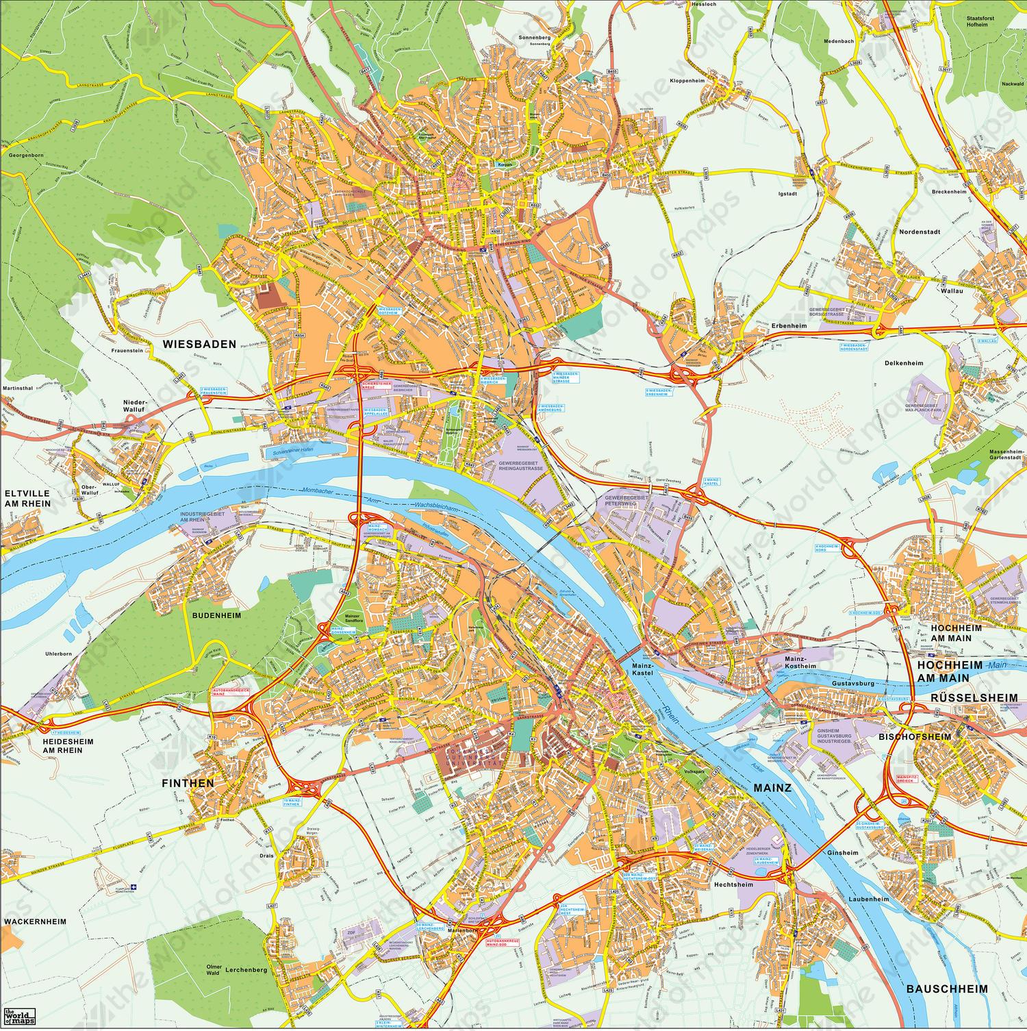 Wiesbaden Karte.Digital City Map Wiesbaden Mainz 177 The World Of Maps Com
