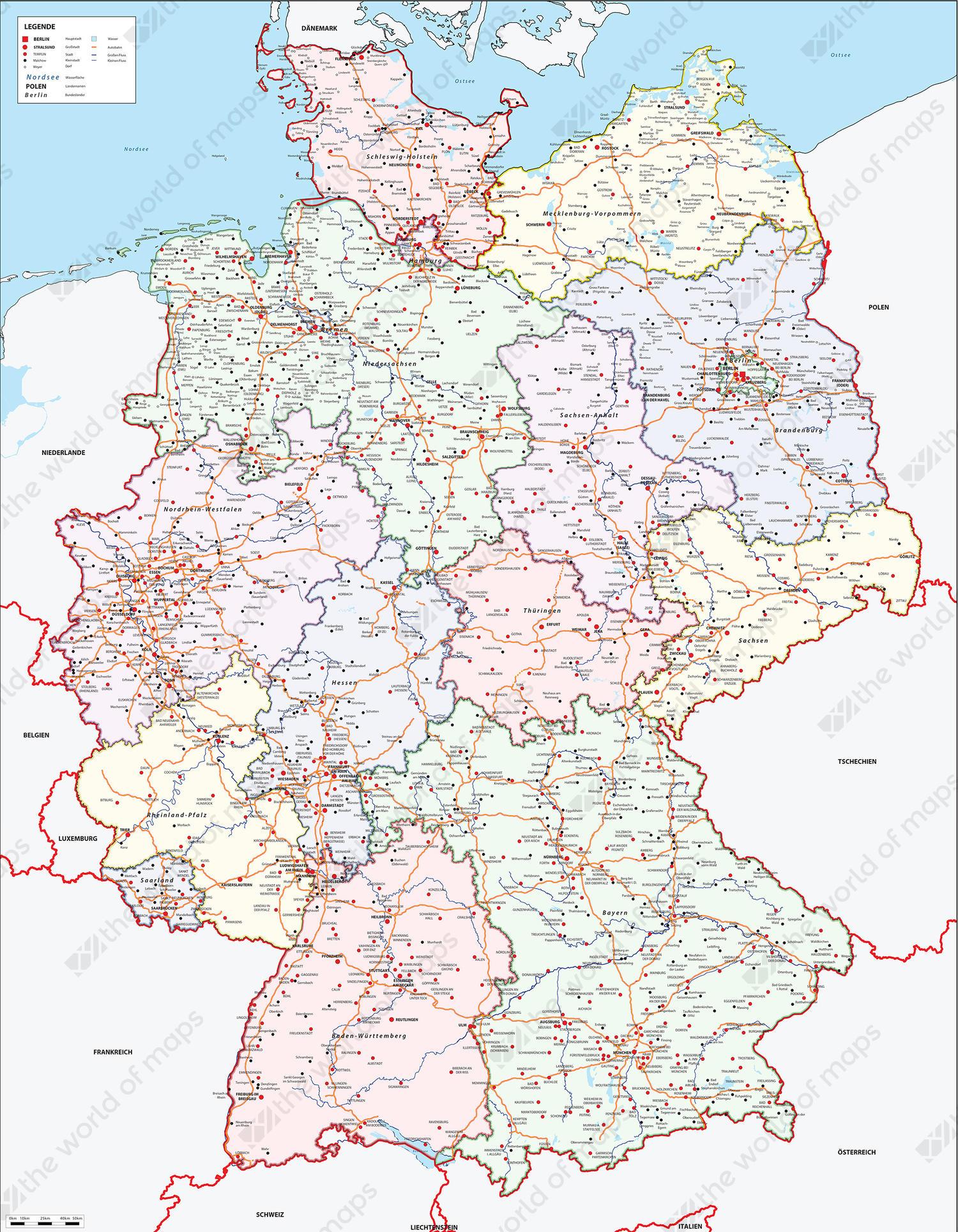 Digital map Germany