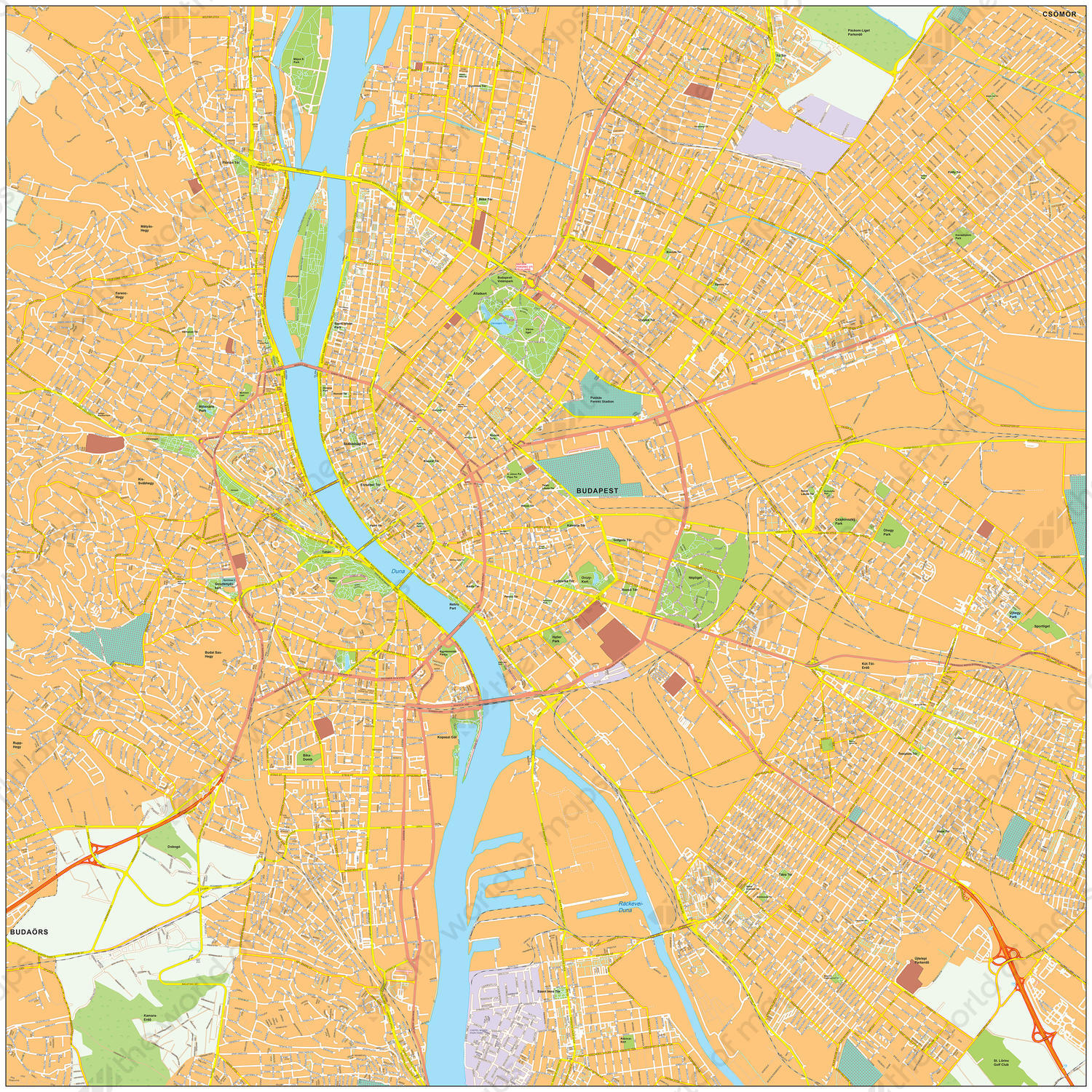 Digital City Map Budapest 472 The World Of Maps Com