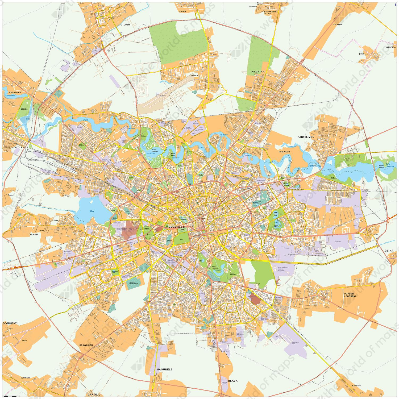 Digital City Map Bucharest 473 | The World of Maps.com