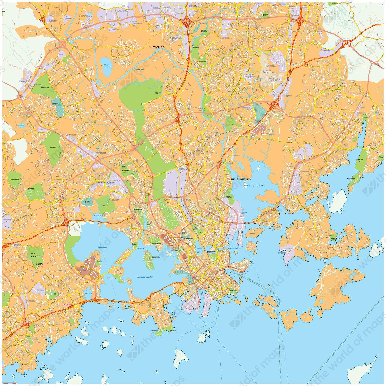 Helsinki World Map.Digital City Map Helsinki 477 The World Of Maps Com