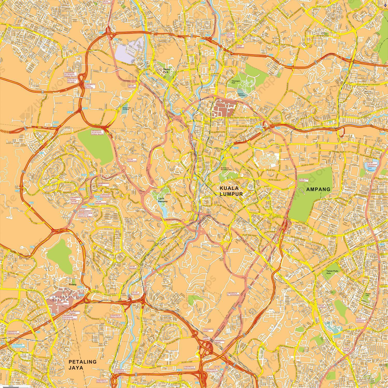 Digital City Map Kuala Lumpur The World Of Mapscom - kuala lumpur map