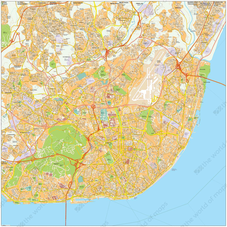 kaart lissabon Digital City Map Lisbon 480 | The World of Maps.com