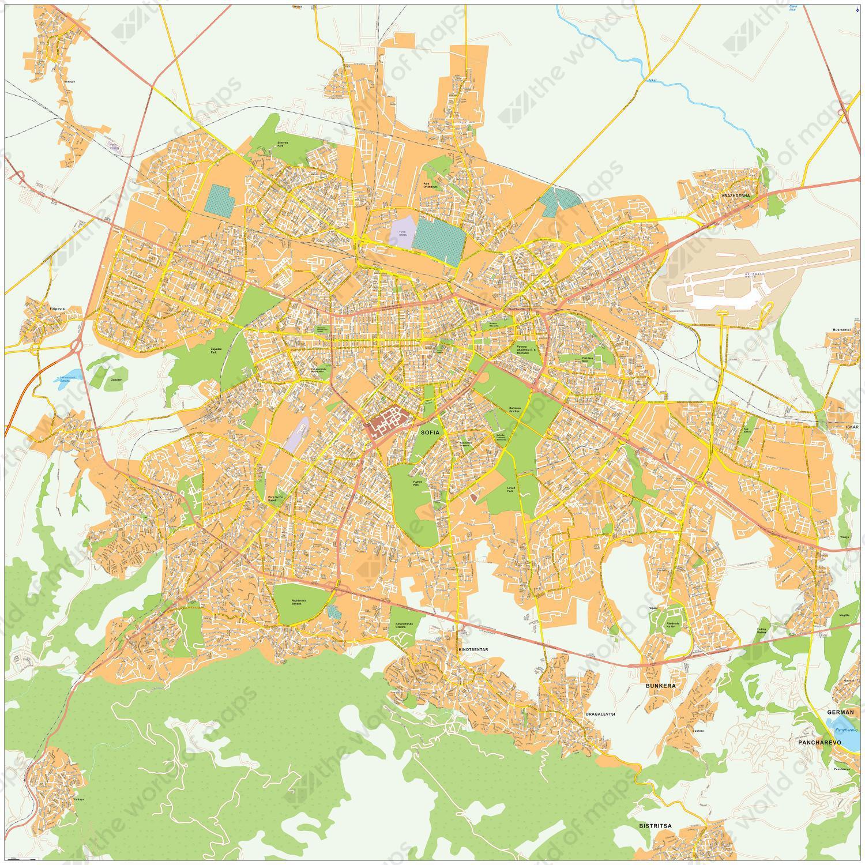 Digital City Map Sofia 495 The World Of Maps Com