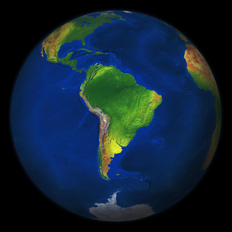 Digital world globe image of South America 549