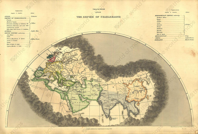 Digital World Map year 1846 Edward Quin