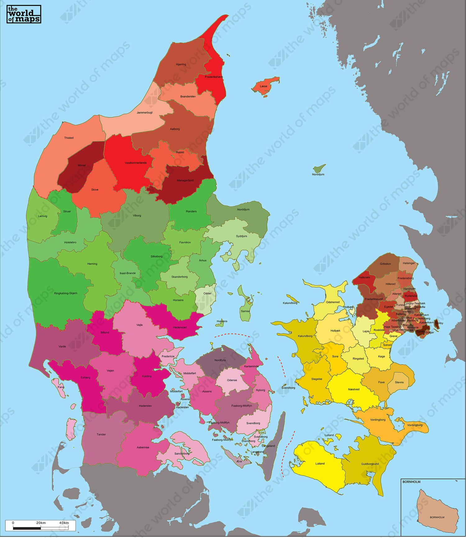 Digital municipal map denmark 6 the world of maps digital municipal map denmark gumiabroncs Choice Image