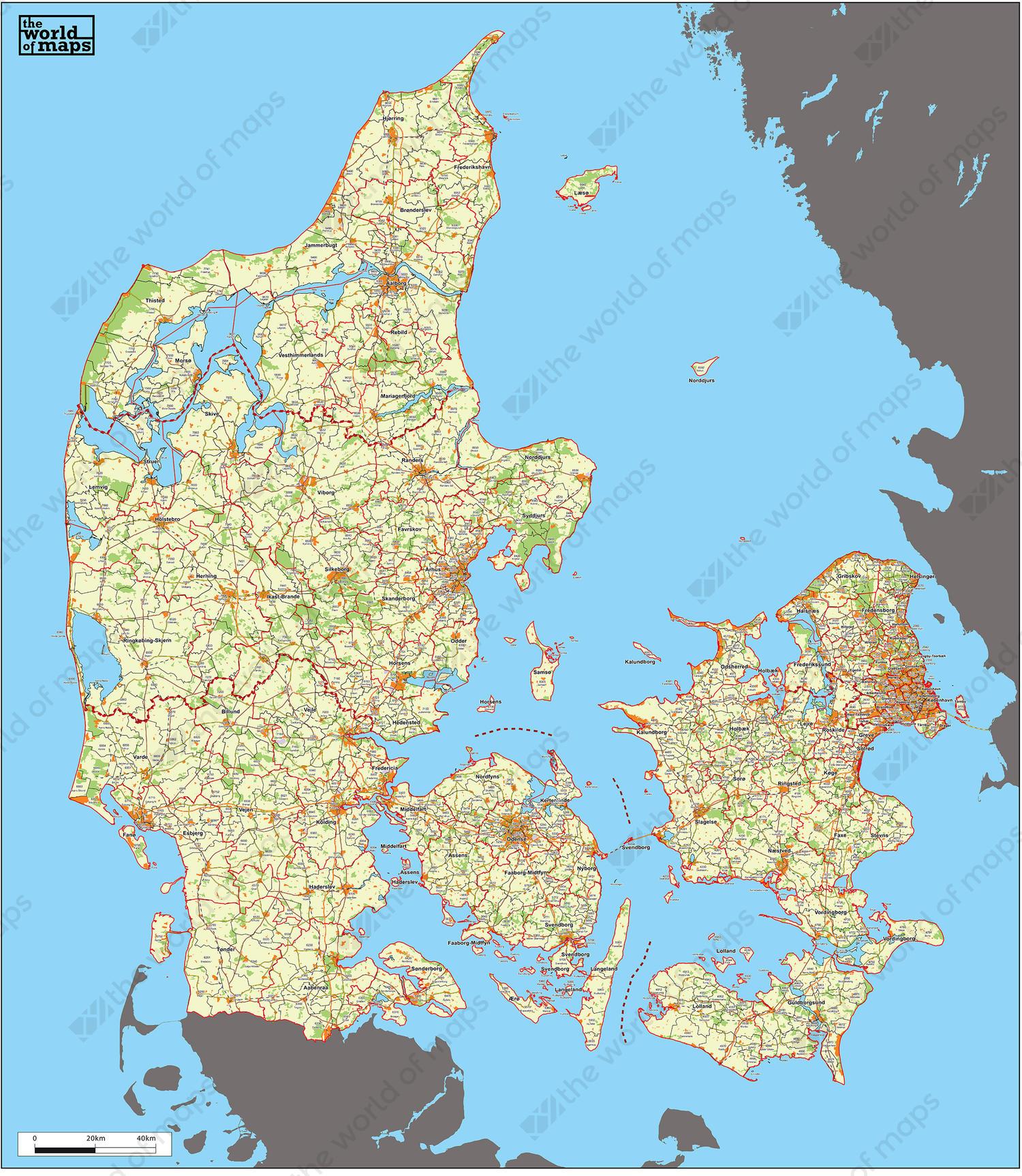 World Map Of Denmark.Digital Zip Code Map Denmark 229 The World Of Maps Com