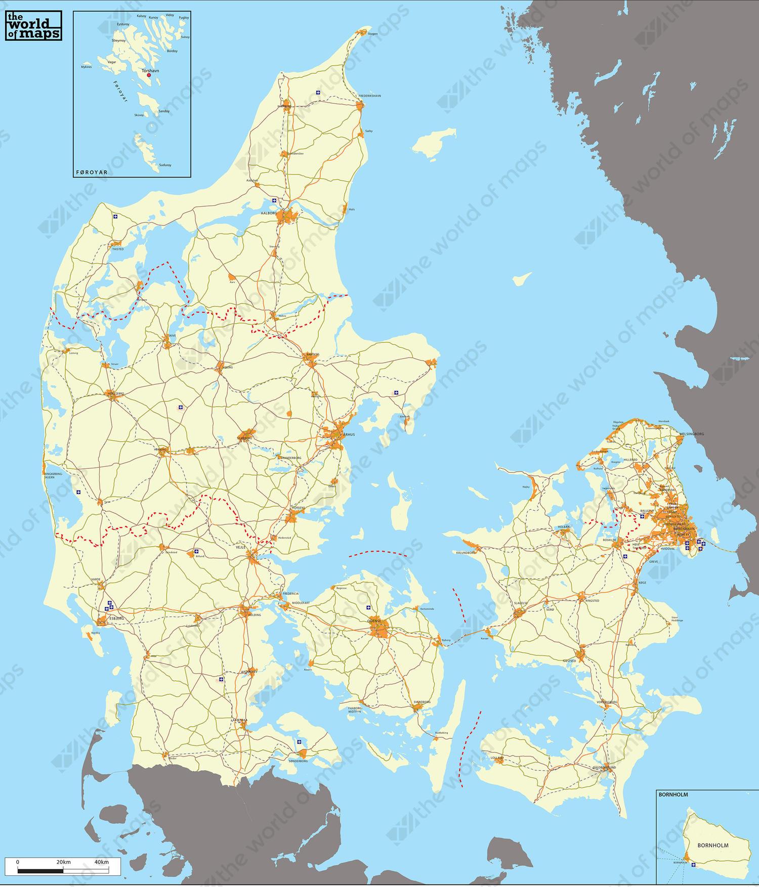 Digital Basic Map Denmark 4 The World Of Maps Com